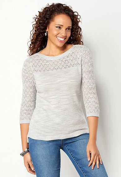 Pointelle Slub Pullover Sweater