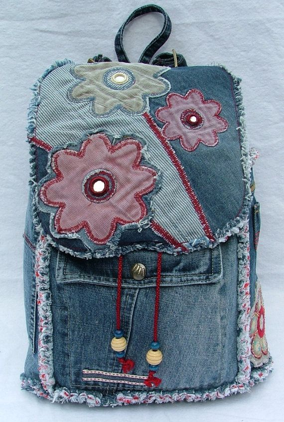 Denim patchwork backpack