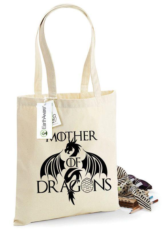 "Juego de tronos ""Madre de dragones"" algodón orgánico bolsa, bolsa para la vida, impreso ambos lados, Daenerys Targaryen, Shopping Bag, 1036"