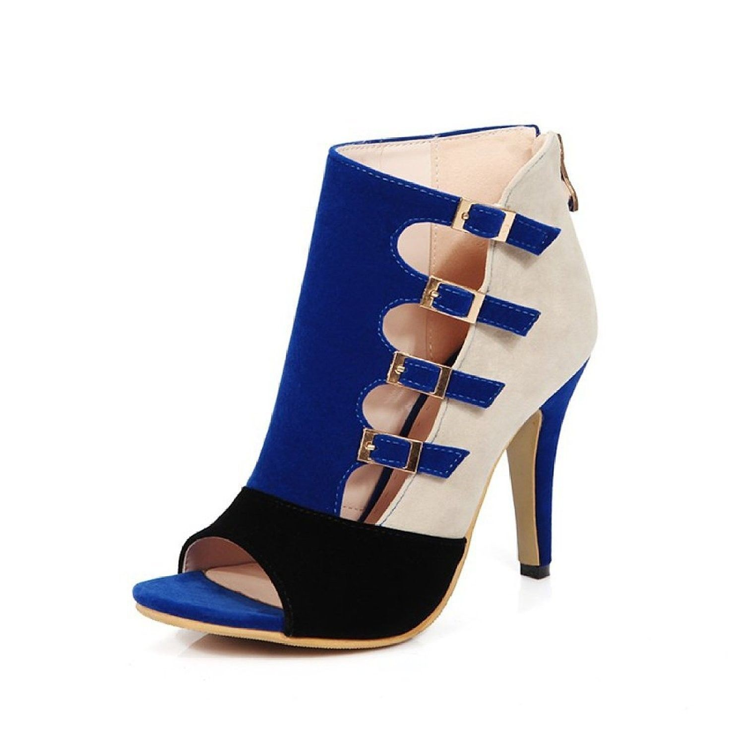 6440bbc1daf518 Women s Peep Toe Sexy High Heels Ankle Pumps Cutout Ankle Booties - Blue -  CW12I90JEY7 - Women s Shoes