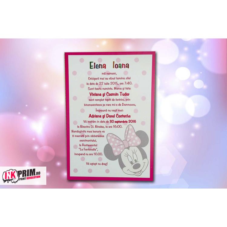 Invitație De Botez Minnie Mouse în 2019 Invitatii Botez Minnie