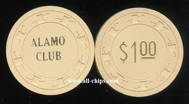 #LasVegasCasinoChip of the day is a $1 Alamo Club 1st issue from 1952 you can see here http://www.all-chips.com/ChipDetail.php?ChipID=18283 #CasinoChip #LasVegas