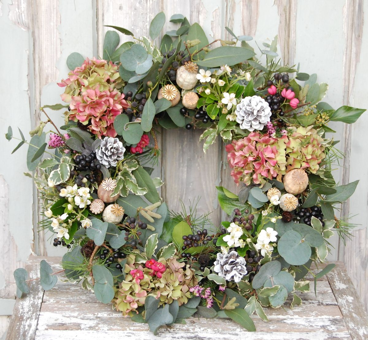Photo of My homemade Christmas wreath for 2015 with eucalyptus, pine, poppy heads and hyd …