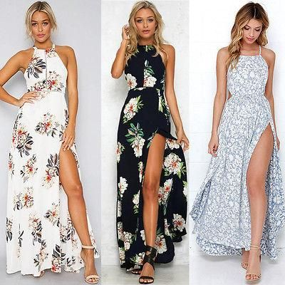 7276a9f7d2 Brand Name  hirigin Model Number  Women Summer Long Maxi Party Beach Dress  Material  Polyester Season  Summer Style  Beach Decoration  None  Silhouette  ...