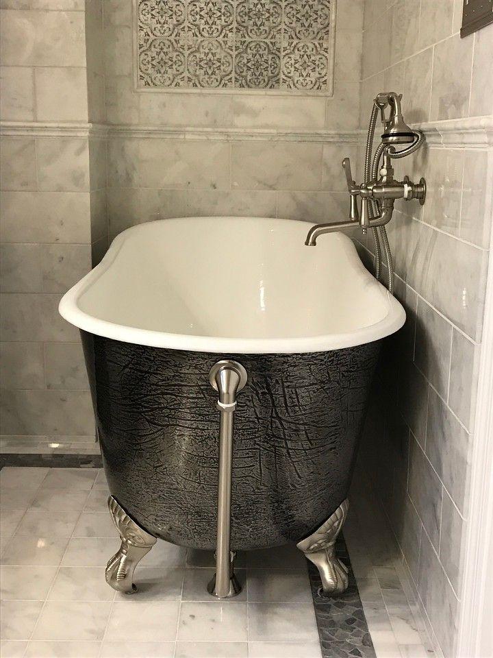 Cast Iron Freestanding Bathtub Mirror Finish Stainless Steel