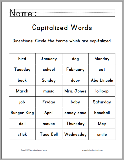 Exceptional image regarding printable capitalization worksheets