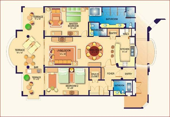 Image Detail For Villa La Estancia 2 Bedroom 3 Bath Oceanfront Luxury Penthouse Villa Floor Plans Restaurant Floor Plan House Plans