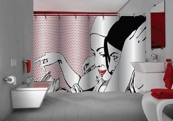Popart Bathroom Shower Curtain I Love Bathroom