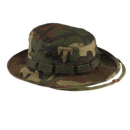 d499d38d416 Military style boonie hat in woodland camouflage is washed to give it a  vintage