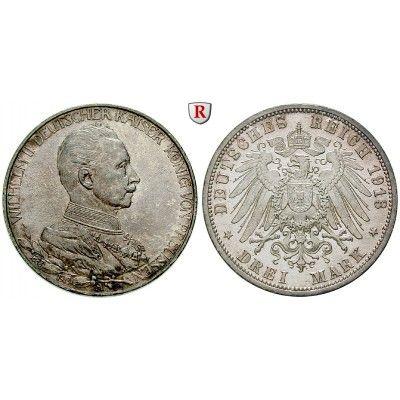 Deutsches Kaiserreich, Preussen, Wilhelm II., 3 Mark 1913, Regierungsjubiläum, A, vz-st/st, J. 112: Wilhelm II. 1888-1918. 3 Mark… #coins