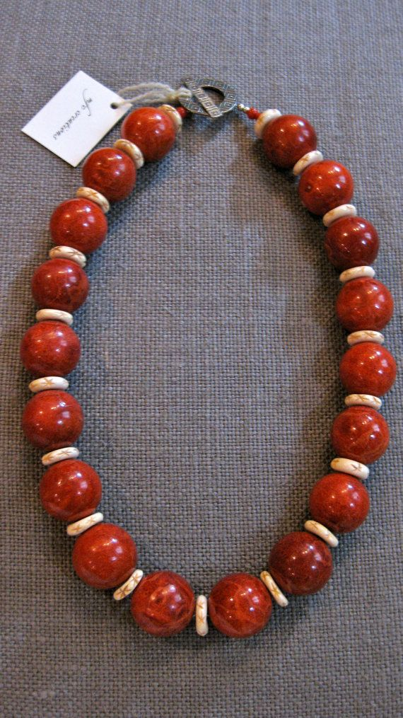 c4ca058c207d Round Red Sponge Coral and Bone Disc Spacers by mfccreations