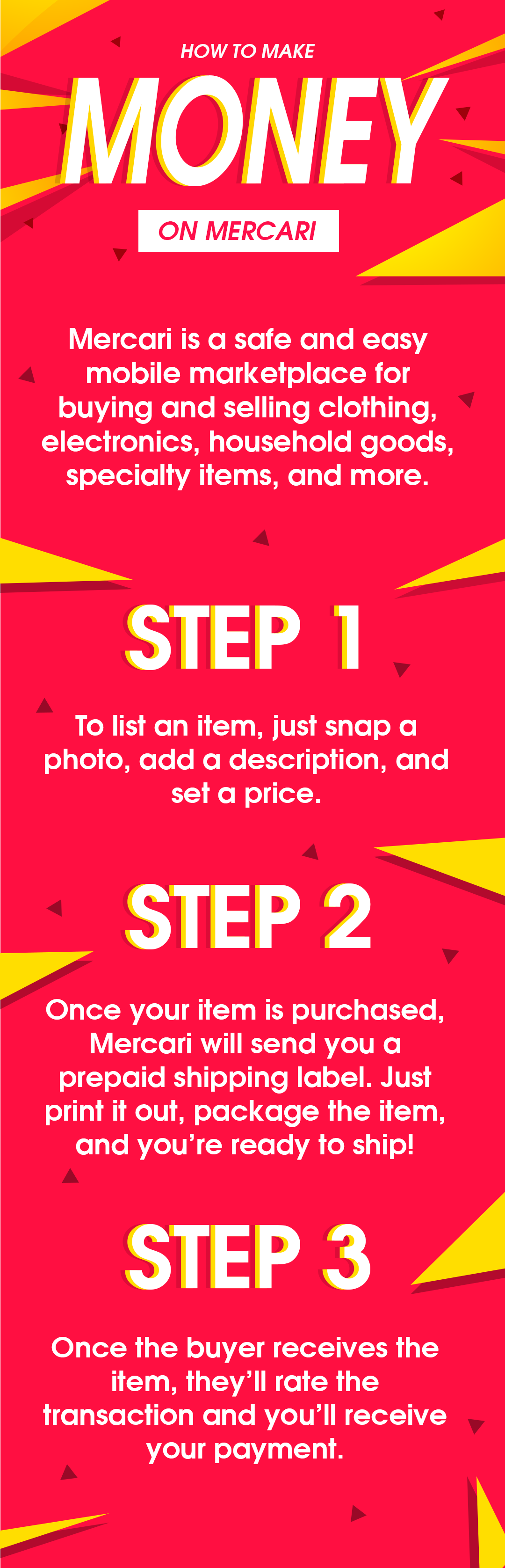 Buy and sell locally with the Mercari Free app! Earn money