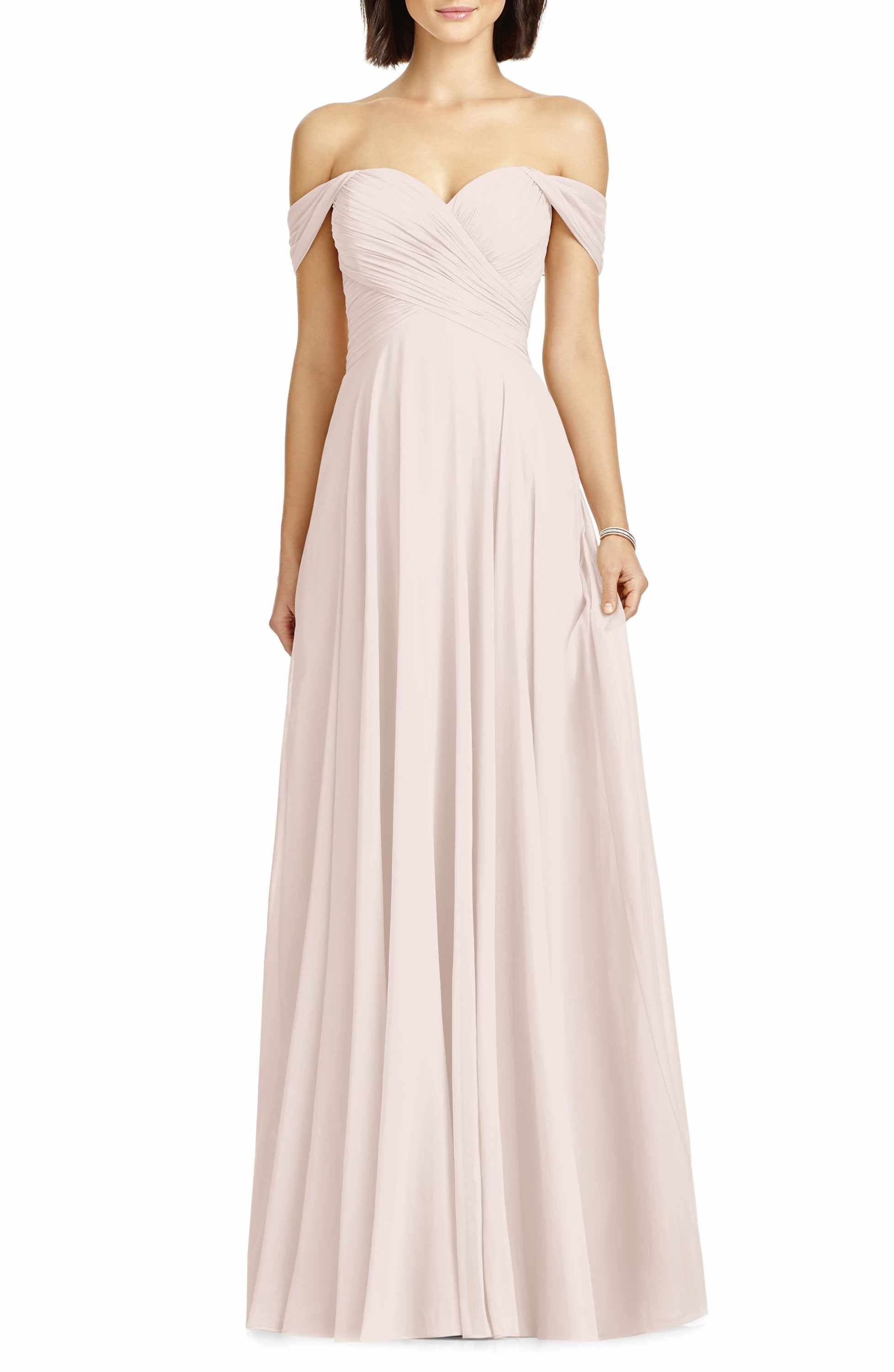 dd5d79bcbe79 Main Image - Dessy Collection Lux Off the Shoulder Chiffon Gown ...