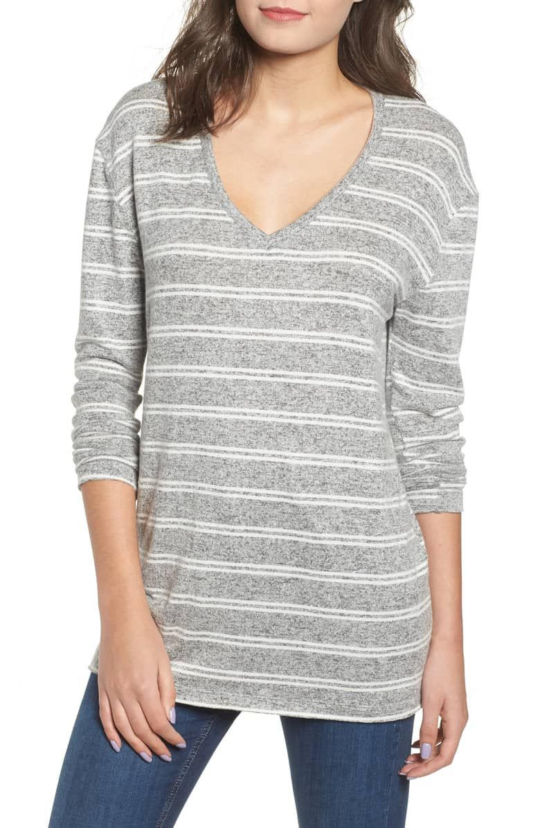 ae1d83c1f Nordstorm Cozy V-Neck Sweater, Main, color GREY MEDIUM HEATHER KORA STRIPE.  Supersoft with long, scrunchable sleeves, this lightweight V-neck sweater  is ...