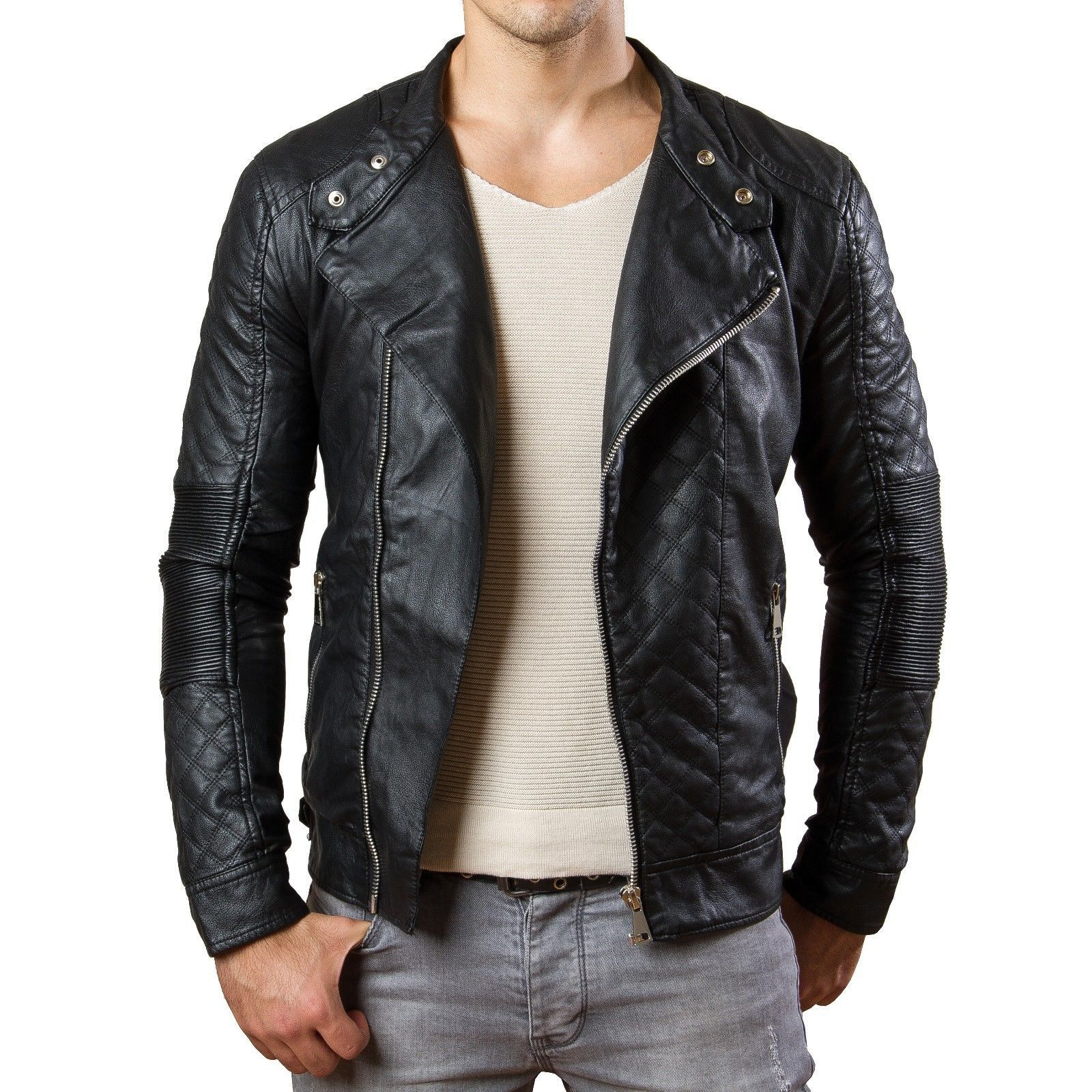 prestige homme mr04 herren biker jacke stepp pu kunstleder schwarz club party pinterest. Black Bedroom Furniture Sets. Home Design Ideas