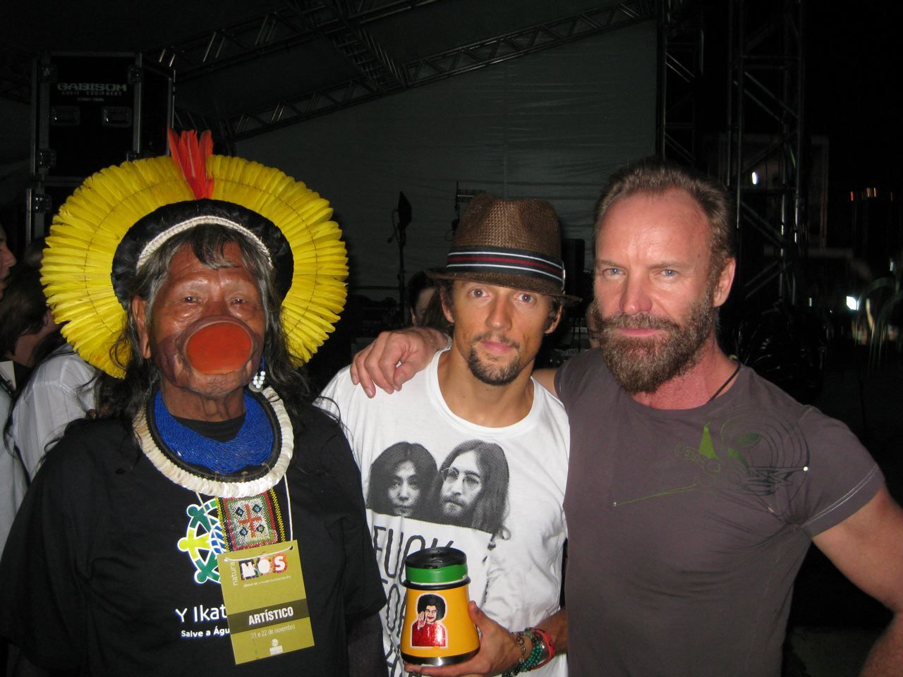 Sting & Jason Mraz with Chief Raoni Txucarramae of the Kayapo people