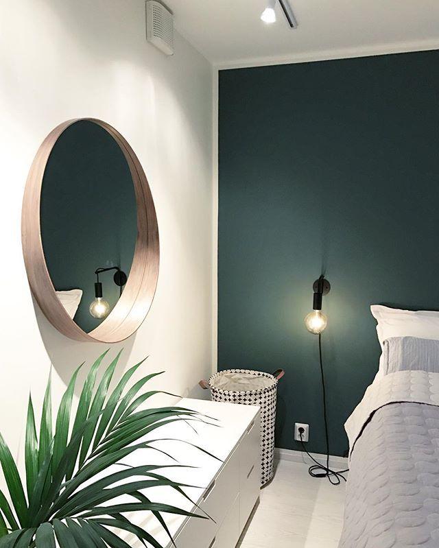 Miroir rond et mur vert sapin | Déco chambre vert, Deco ...