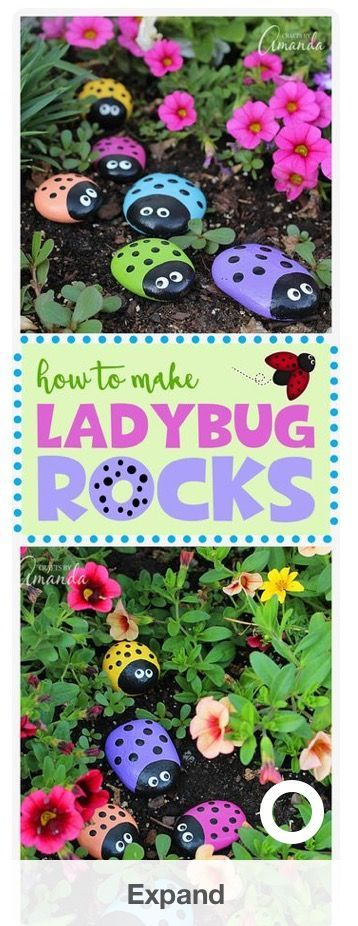 Garden Crafts Garden Ideas Outdoor Paint Painted Rocks Ladybug
