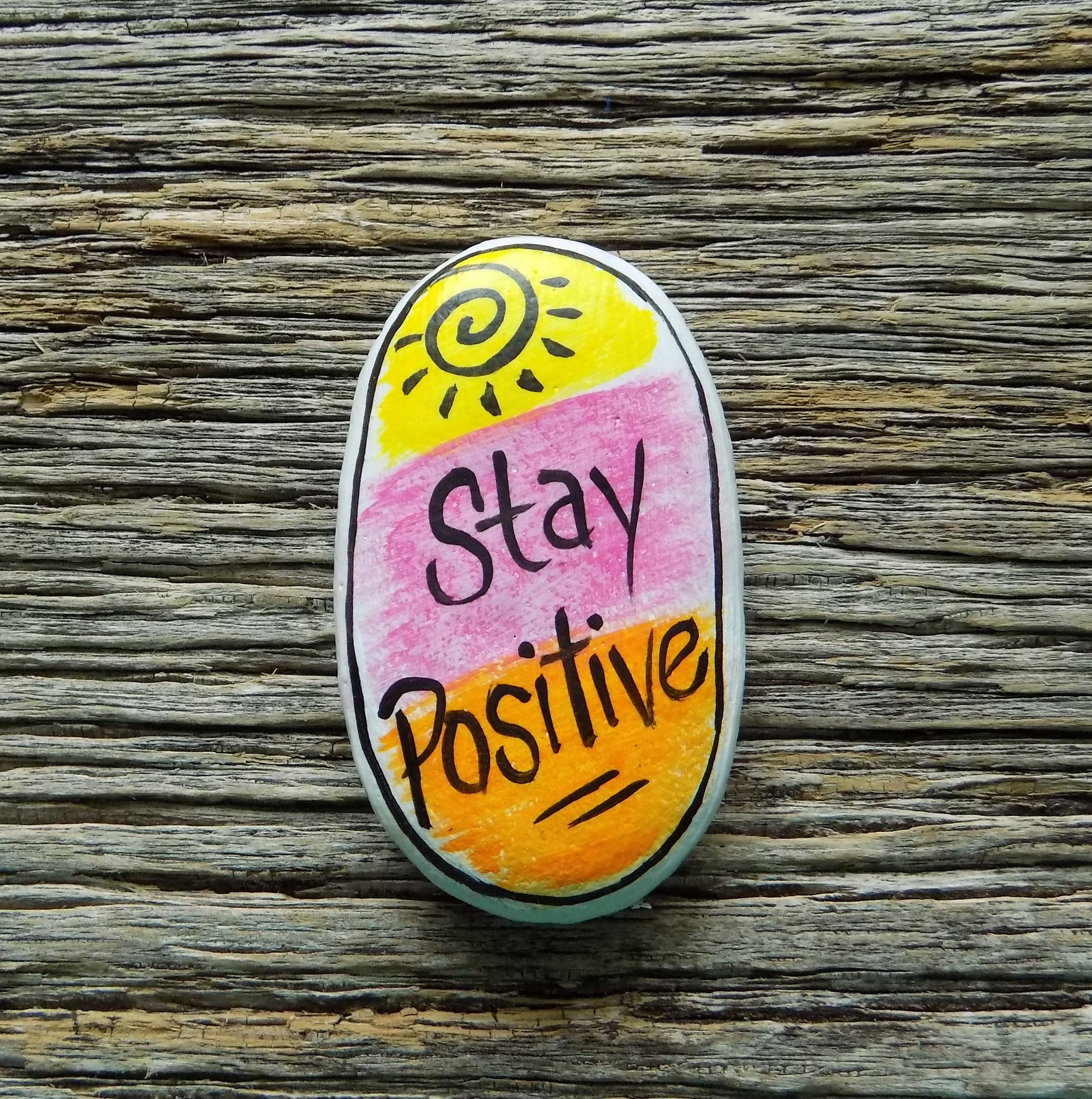 Stay Positive Sunshine Painted Rock,Decorative Accent Stone, Paperweight