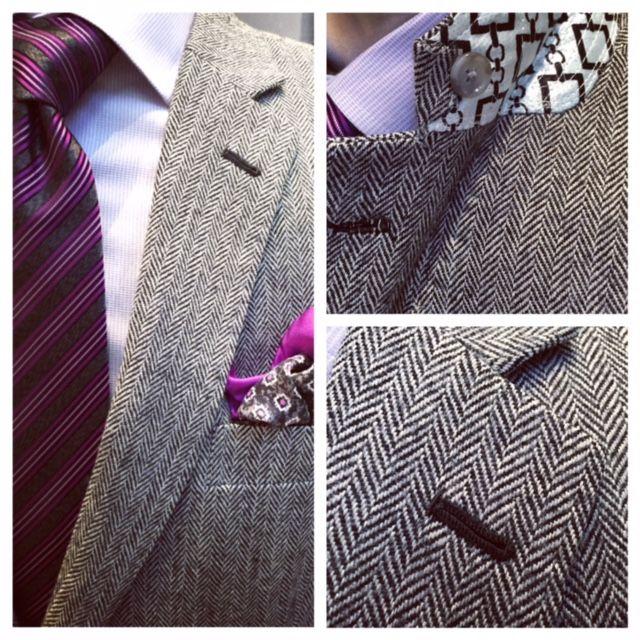 Herringbone sport coat with black lapel button hole details