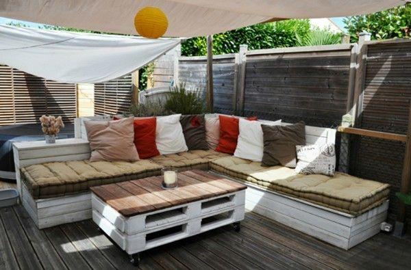 relax zone drau en ecksofa aus paletten sonnensegel sonnenschutz mit paletten gebaut sehr s. Black Bedroom Furniture Sets. Home Design Ideas