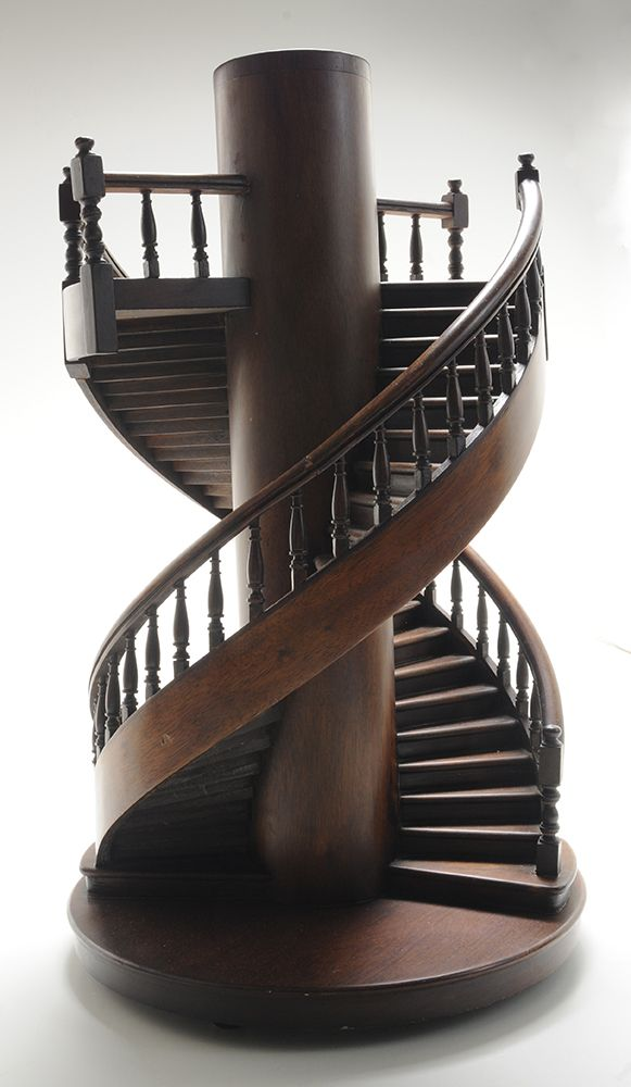 Brunk auctions miniature mahogany double spiral for Double curved staircase