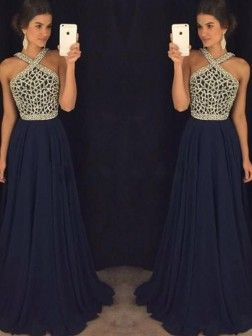 5dff391448 A-Line Princess Sleeveless Halter Chiffon Beading Floor-Length Dresses