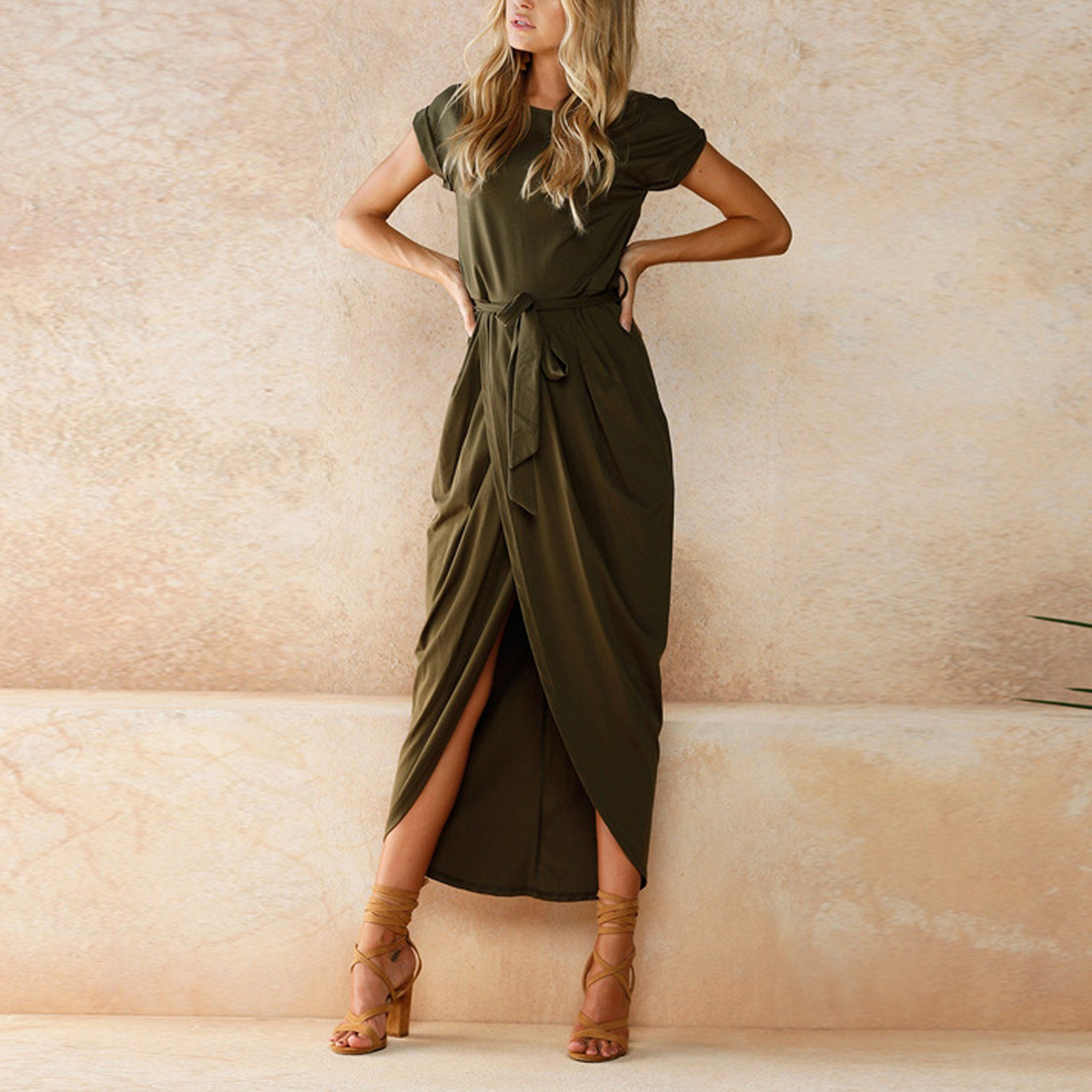 Madison Tie Up Waist T Shirt Long Drape Wrap Maxi Dress Trendy Dresses Summer Womens Dresses Maxi Dress [ 2048 x 2048 Pixel ]
