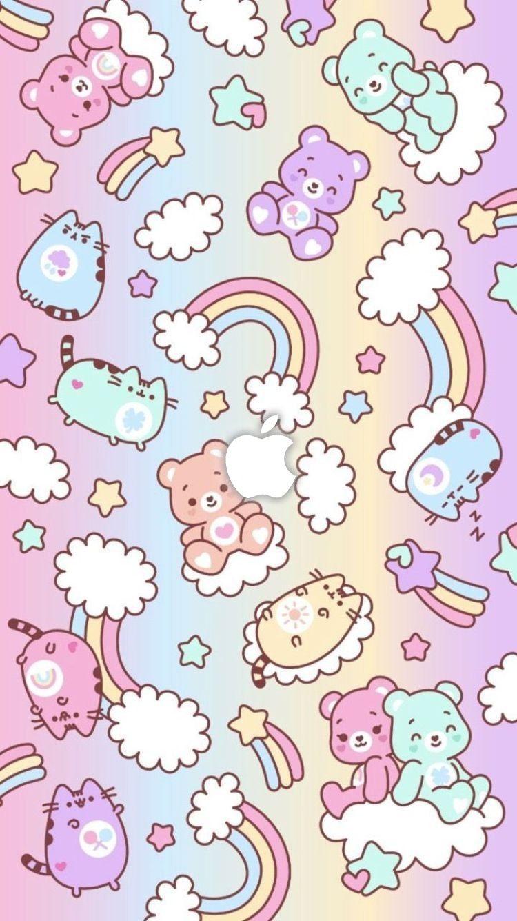 Wallpaper Of Cute Cartoon Boy And Girl Iphone Wallpaper Kawaii Kawaii Background Wallpaper Iphone Cute