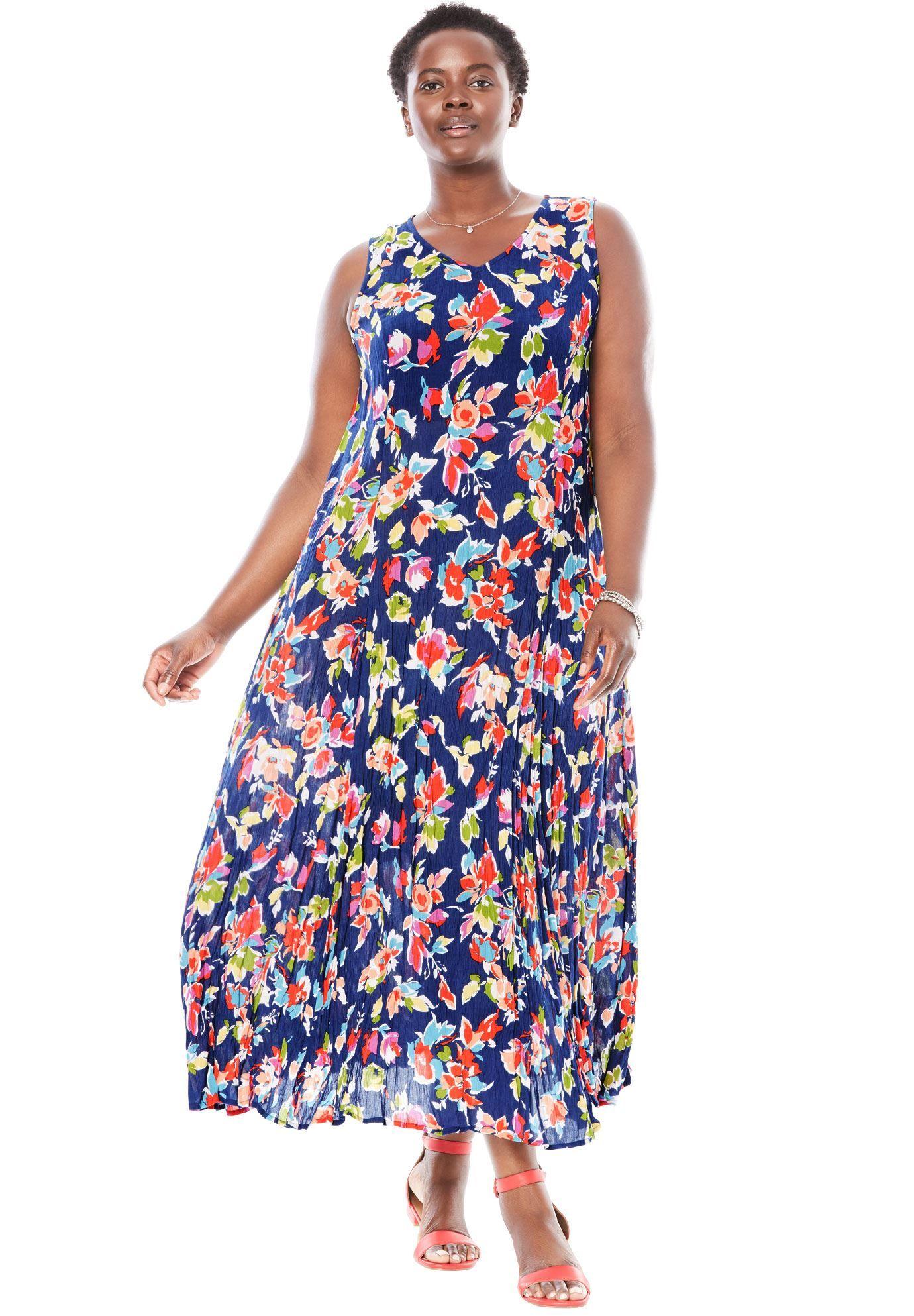 Woman Within®Sleeveless Crinkle Dress - Women\'s Plus ...