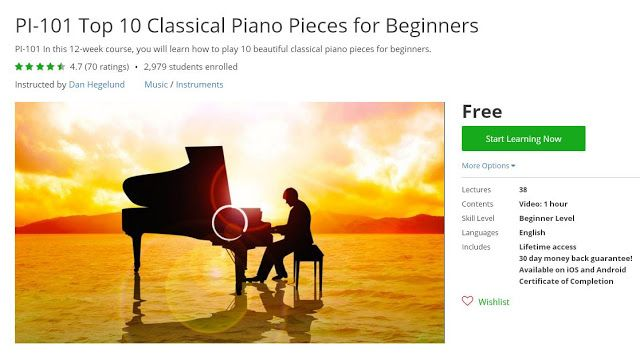Coupon Udemy - PI-101 Top 10 Classical Piano Pieces for Beginners [Free] - Course Discounts & Free