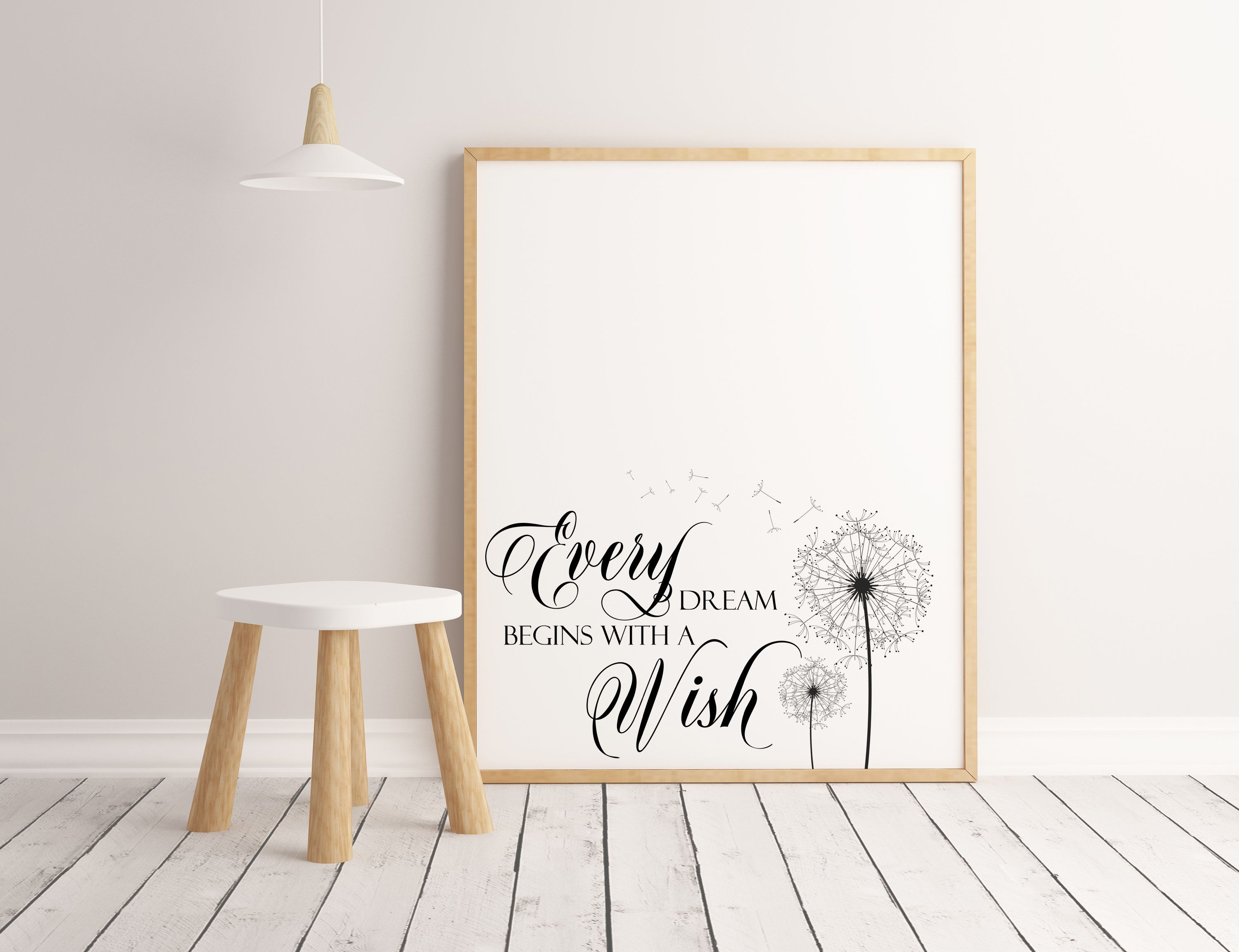 Every Dream Begins With A Wish Printable Wall Art Printable Quotes Farmhouse Decor Dandelion Art P Wall Printables Printable Wall Art Online Printing Companies