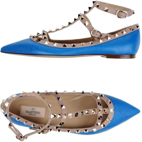 Valentino Garavani Ballet Flats (17.080 UYU) ❤ liked on Polyvore featuring shoes, flats, azure, leather ballet shoes, ballerina shoes, flat shoes, ballet flat shoes and leather flats