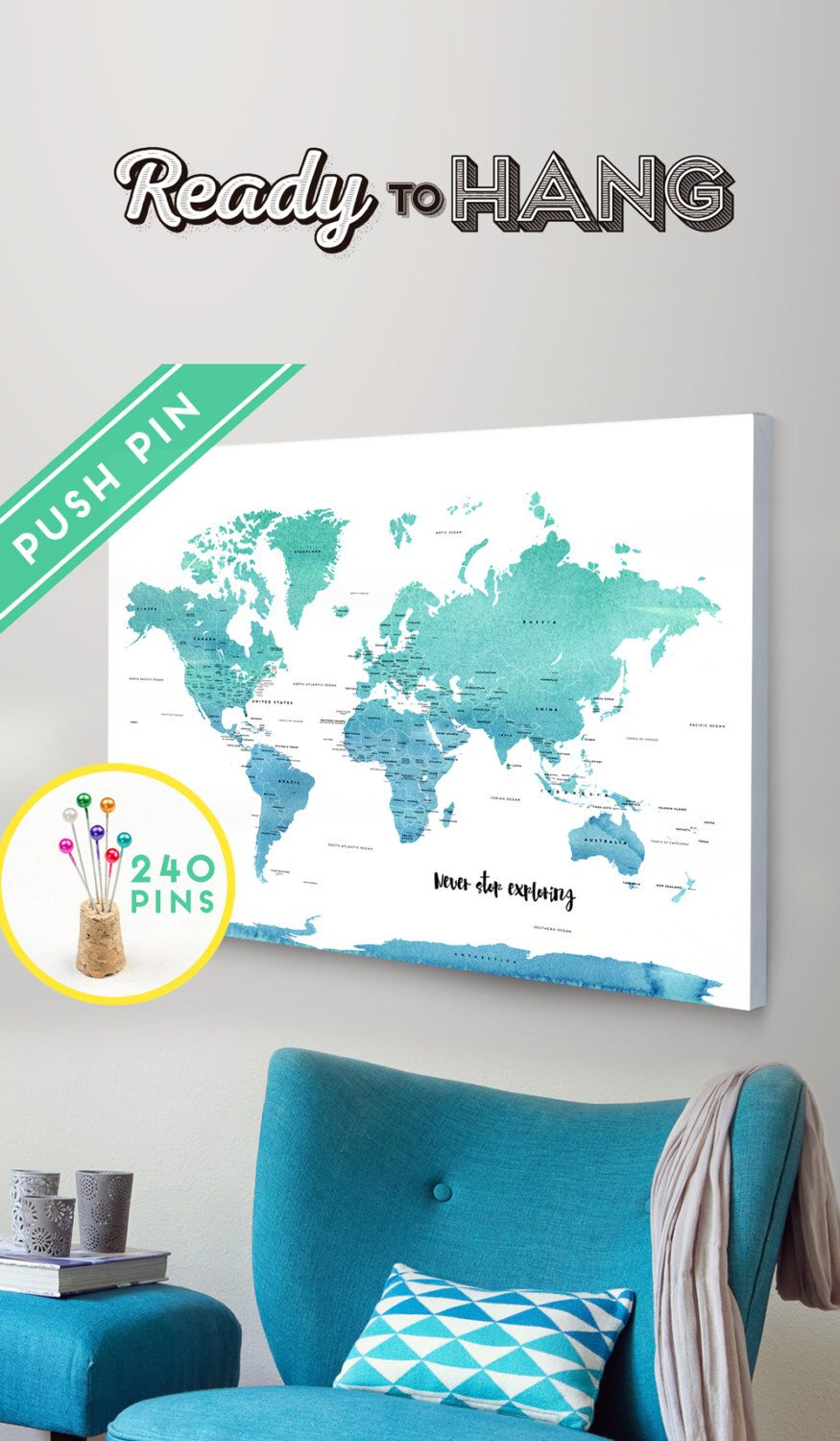 Personalized push pin world map canvas world map watercolor blue watercolor gray ready to hang canvas wrap world map for guest book bottom right quote area will readof all the books in the world the best stories gumiabroncs Image collections