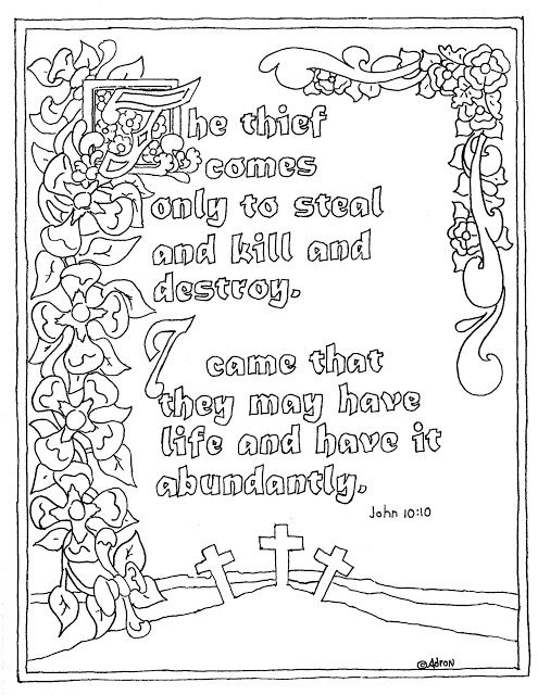 Coloring Pages For Kids By Mr Adron Printable John 1010 Illuminated Text