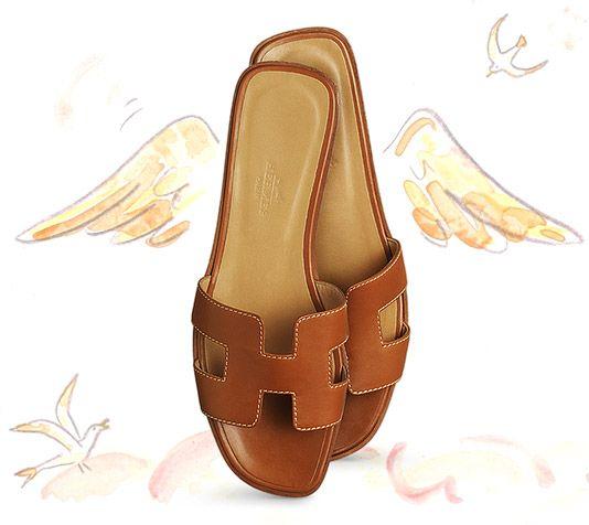 02ba6c9231ec Oran Hermes sandal in gold box leather