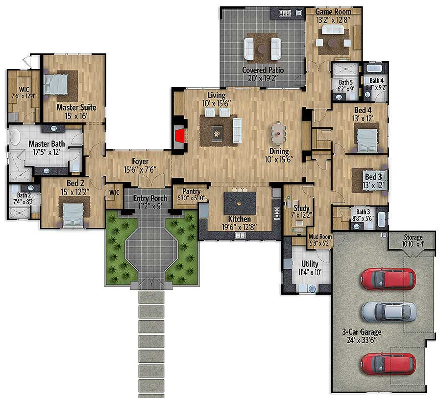 Plan 430026ly one story european house plan with game room house malvernweather Choice Image