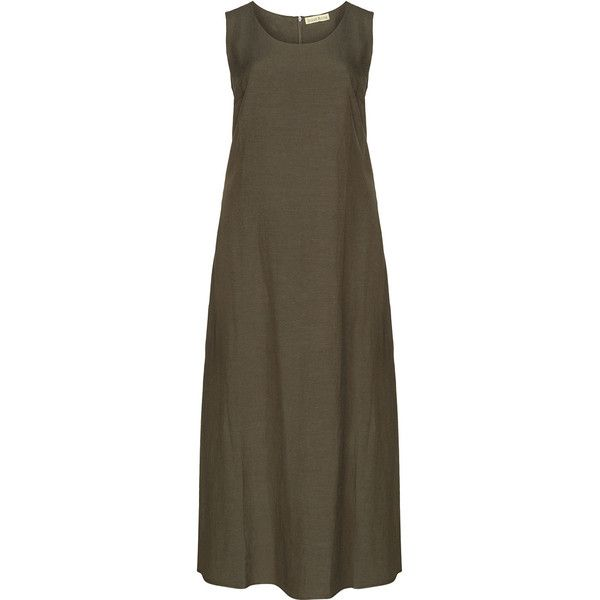 Isolde Roth Khaki-Green Plus Size Linen-cotton blend maxi dress ($81) ❤ liked on Polyvore featuring dresses, plus size, linen maxi dress, sleeveless maxi dress, brown dress, women's plus size dresses and plus size a line dresses