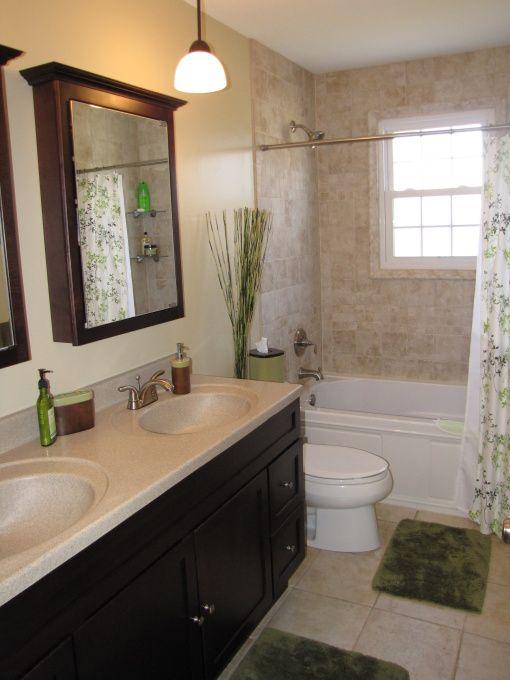 Medicine Cabinet Mirrors Instead Of Large Builder One Bathroom Bathroom Spa Bathroom Renos