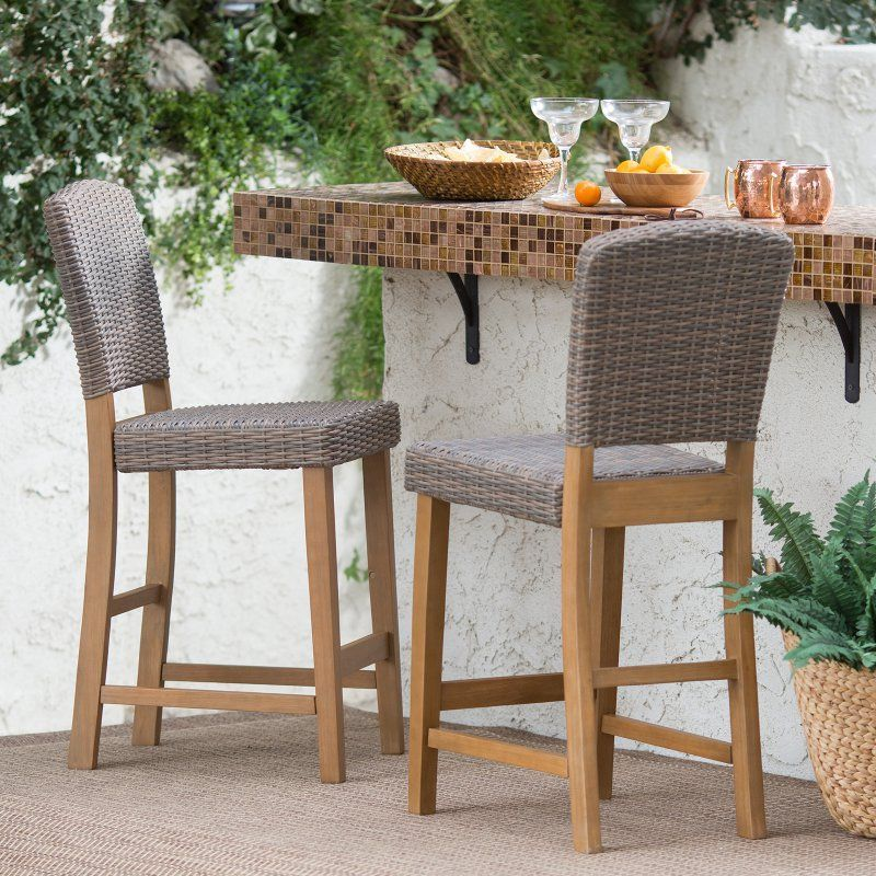 Coral Coast Avalonia All Weather Wicker Counter Height Patio Bar Stool Set Of 2 L574 0067mp Patio Bar Stools Outdoor Furniture Sets Balcony Railing Design