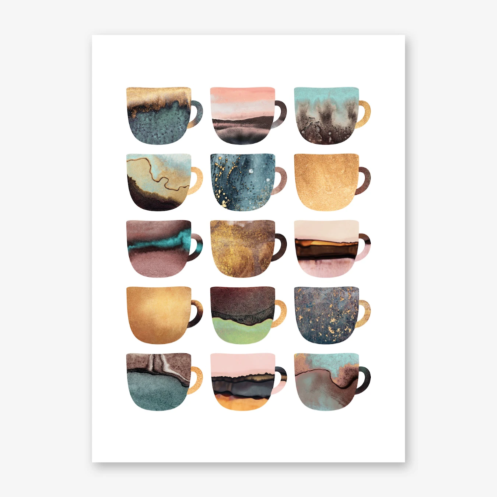 Pretty Earthy Coffee Cups Art Print In 2020 Coffee Cup Art Coffee Wall Art Coffee Cup Wall Art