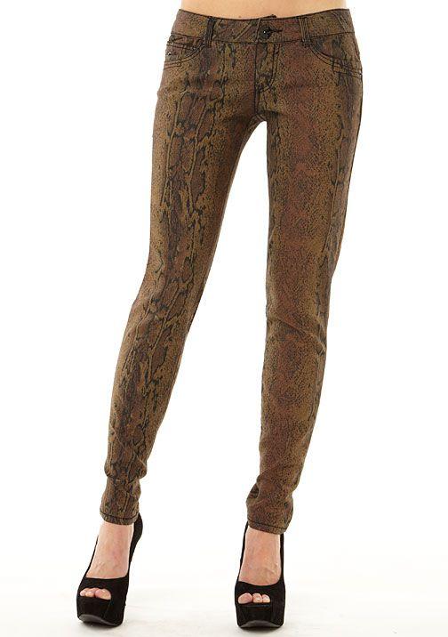 Jolt Rattlesnake-Print Skinny Jean at Alloy