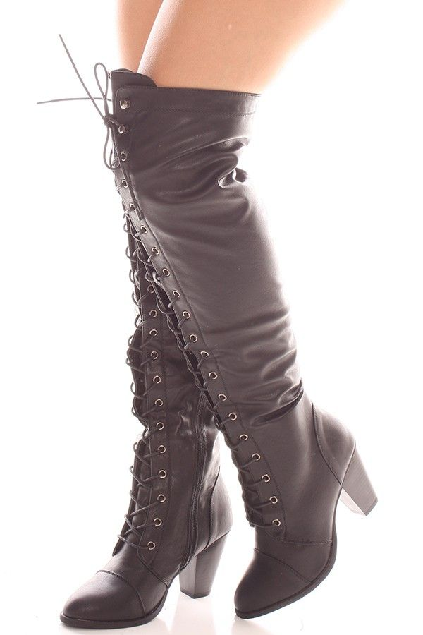BLACK FAUX LEATHER LACE UP LONG COMBAT STYLE WITH HEEL KNEE HIGH ...