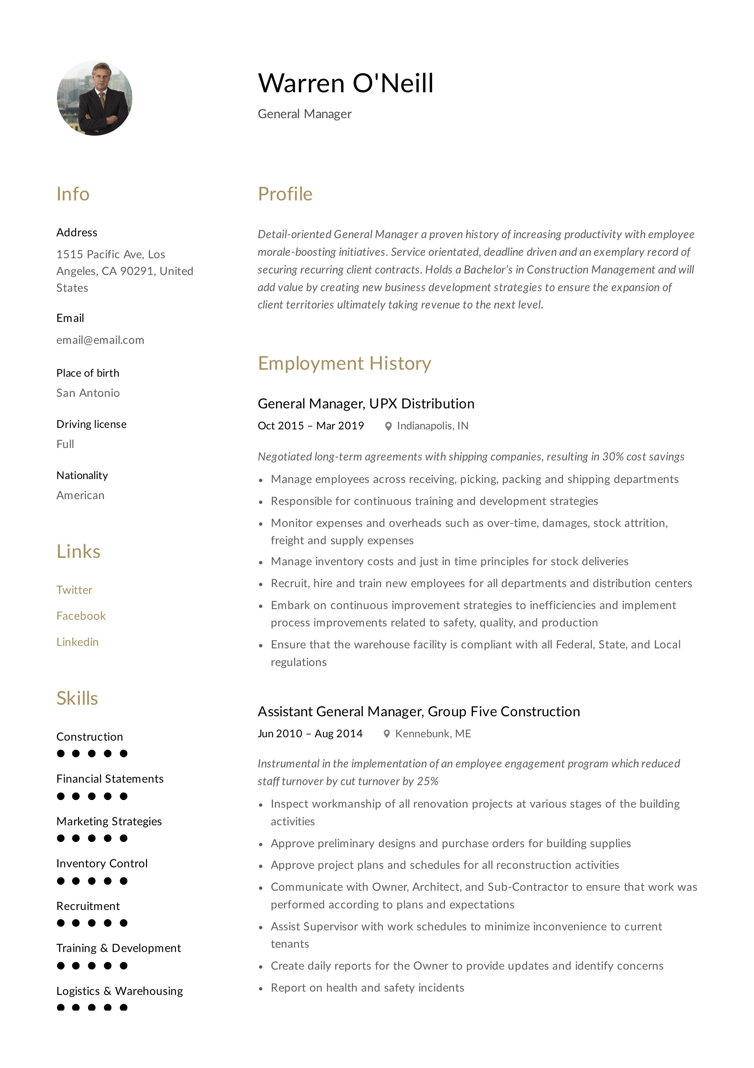 General manager resume template in 2020 manager resume
