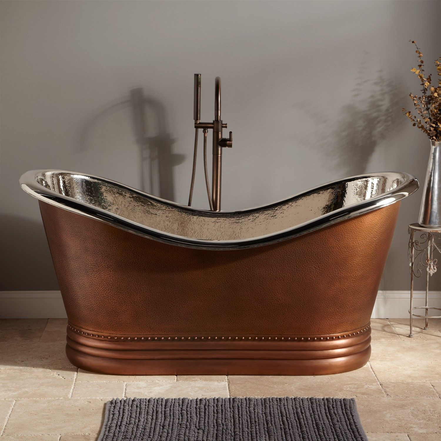 Paige Hammered Copper Double Slipper Tub Nickel Interior Copper Tubs Bathtubs Bathroom Better Price And Ni Slipper Tubs Copper Tub Copper Soaking Tub