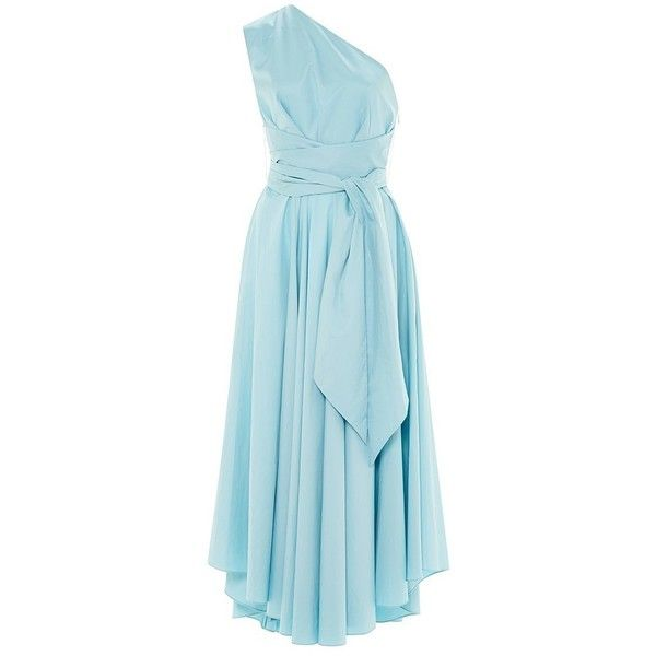 Tibi Satin Poplin One Shoulder Wrap Dress (27,560 INR) ❤ liked on Polyvore featuring dresses, blue midi dress, blue dress, midi cocktail dress, mid calf dresses and one-sleeve dress