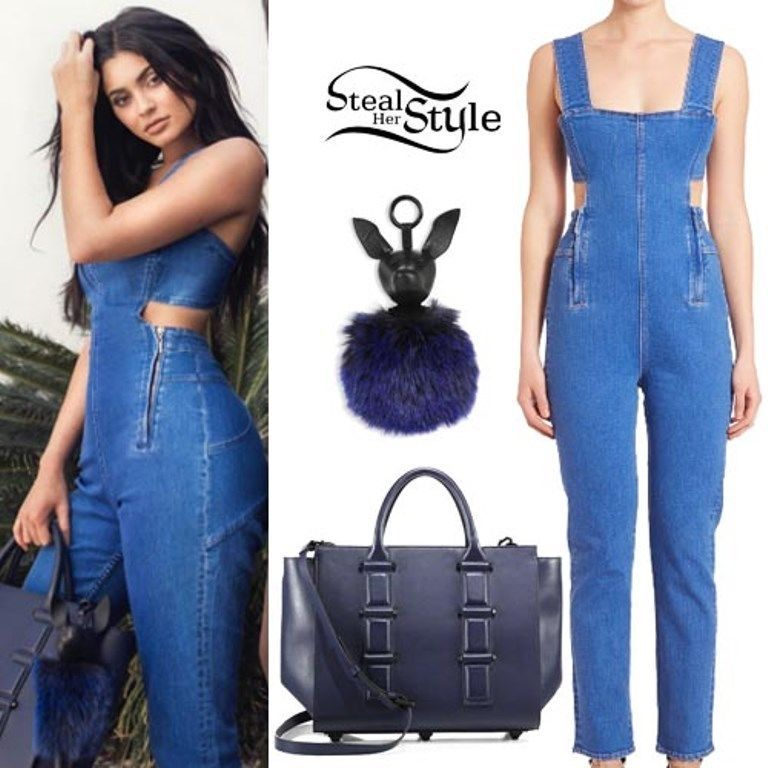 bddc0cb3966a KENDALL   KYLIE   Sold-Out   CUTOUT Overalls DENIM Bodycon JUMPSUIT ( XS )