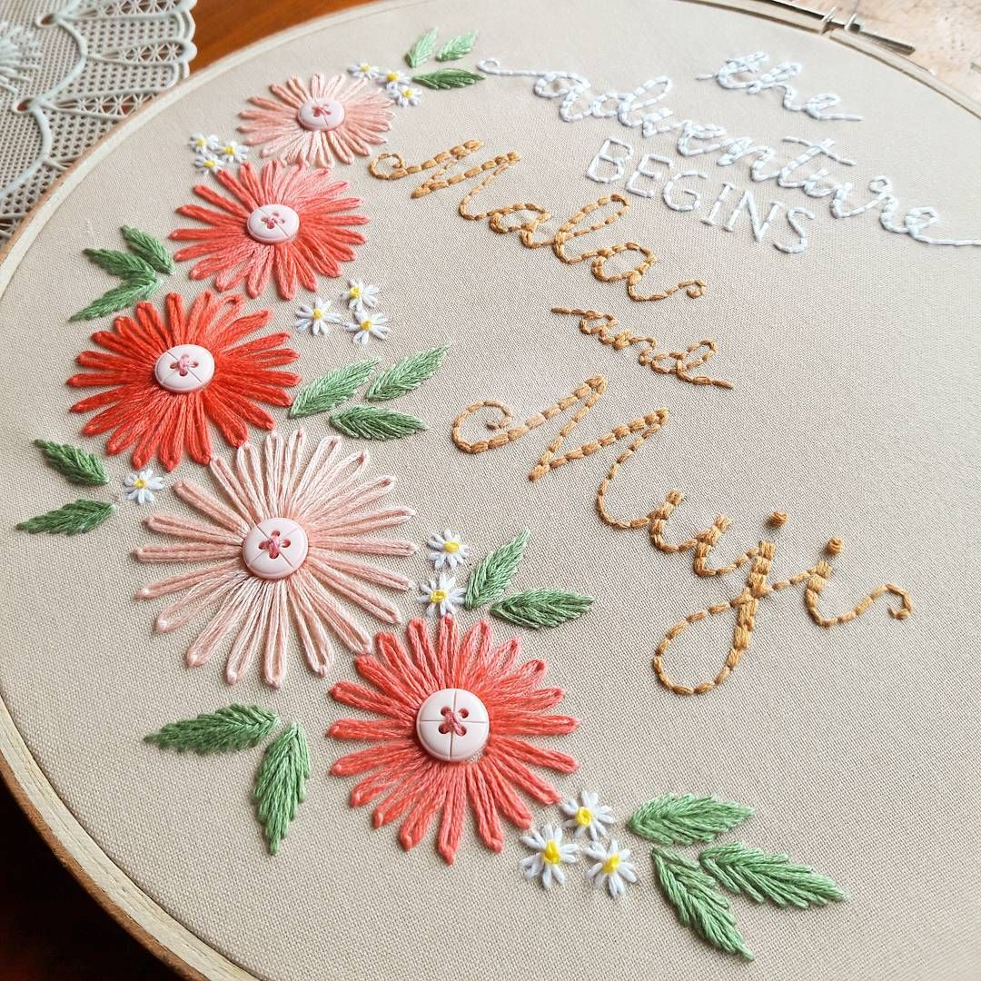 How cute is this embroidery pattern with the little buttons ...