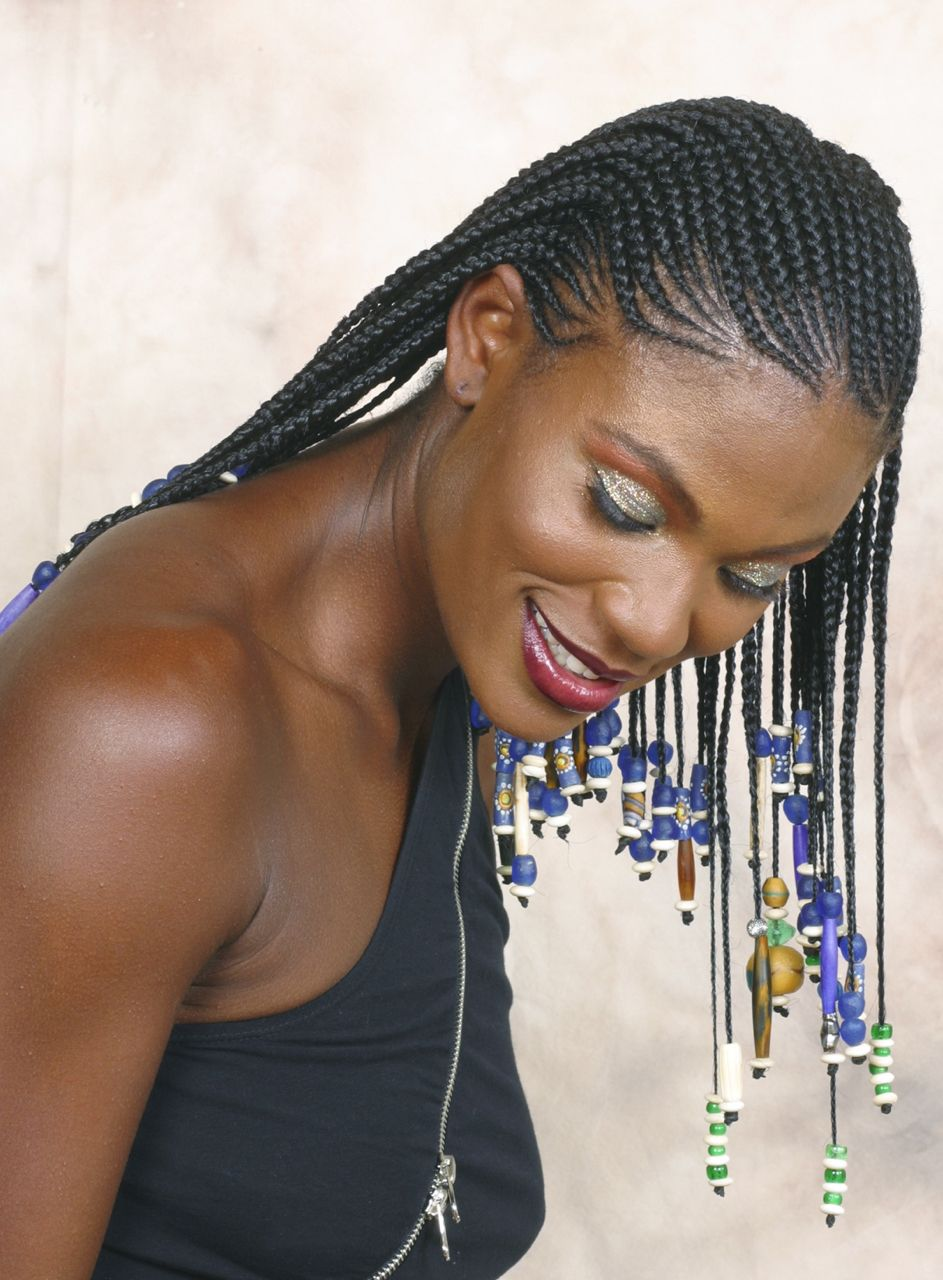 Khamit kinks cornrows and beads for retro show late s natural