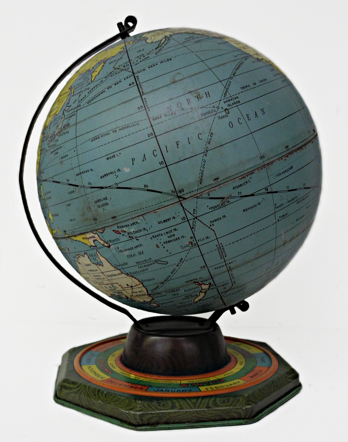 7 inch world globe, Globe Maker: J. Chein & Co. (Published: J. Chein & Co. c1930. Burlington, NJ)